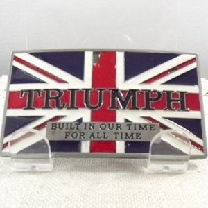 Triumph and Union Jack Flag Belt Buckle